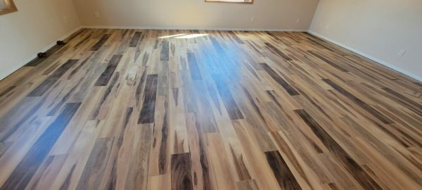 LaValle Flooring Mute Step Huntington Hickory installation in North Dakota living room and dining room