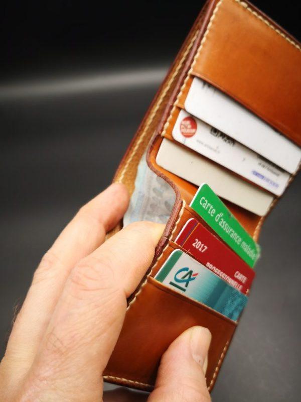 porte carte cuir marron