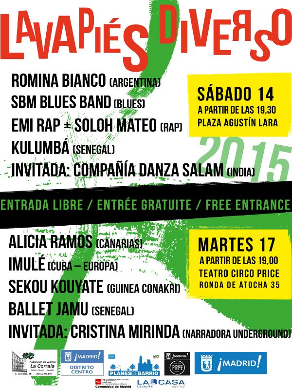 Lavapiés Diverso 2015   Cartel conciertos   Web