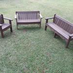 Two Seater Bench With Back And Armrest Lavaplastic