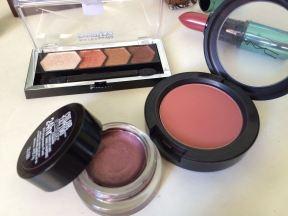 Pomegranate Punk cream shadow, Pinch Me blush, Copper Chic palette