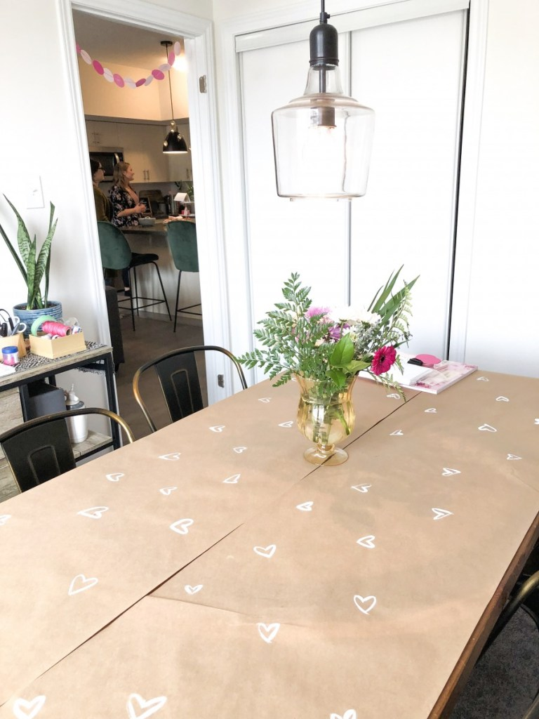 Galentines Brunch and Crafternoon heart DIY table cloth