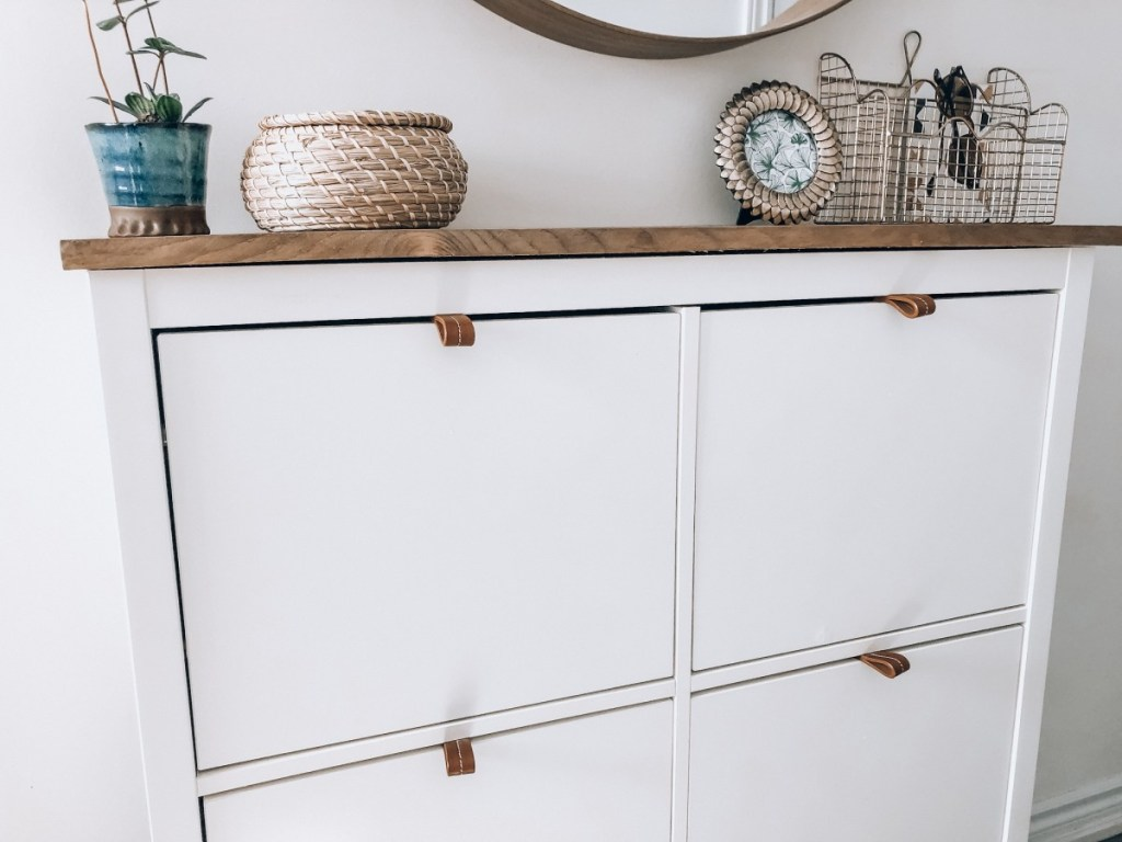 Easy Shoe Cabinet Ikea Hack for a Modern Boho Entryway
