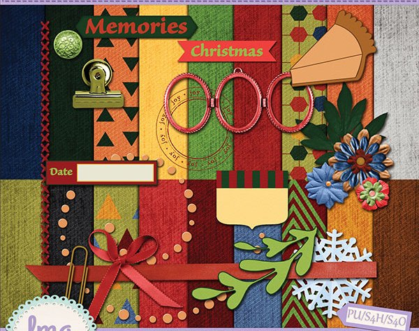 Holiday Christmas Thanksgiving Digital Scrapbook Kit