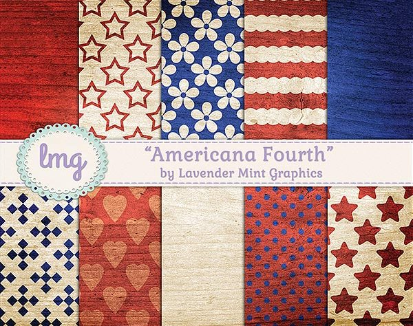 Patriotic Digital Scrapbook Paper
