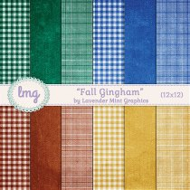 Fall Autumn Gingham Digital Scrapbook Paper