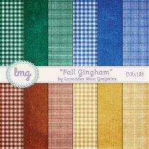 Fall Autumn Gingham Digital Scrapbook Paper