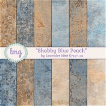 Blue and Peach Floral Digital Paper