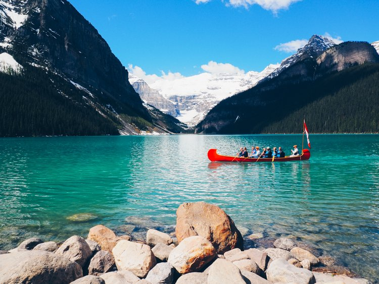 Canoeing - Lake Louise, Banff National Park, Alberta Canada