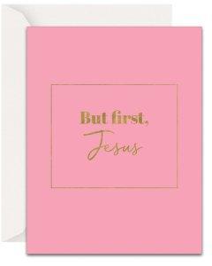 Christian Encouragement Cards - Lavender Vines - But, First Jesus