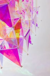Iridescent kite made from 3M™ dichroic glass finishes