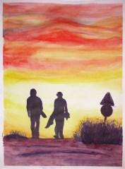 Pintura Bea puesta de sol blog