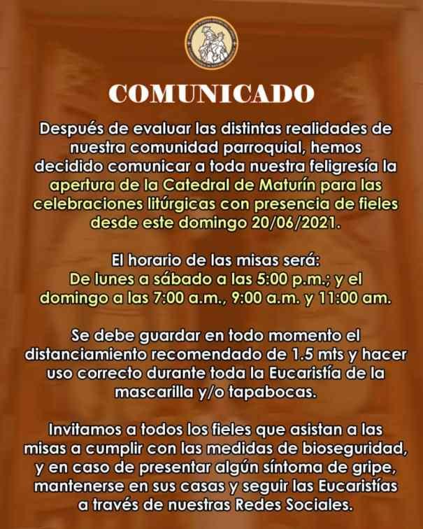 este domingo se reanudan misas presenciales en la catedral de maturin laverdaddemonagas.com comunicado1