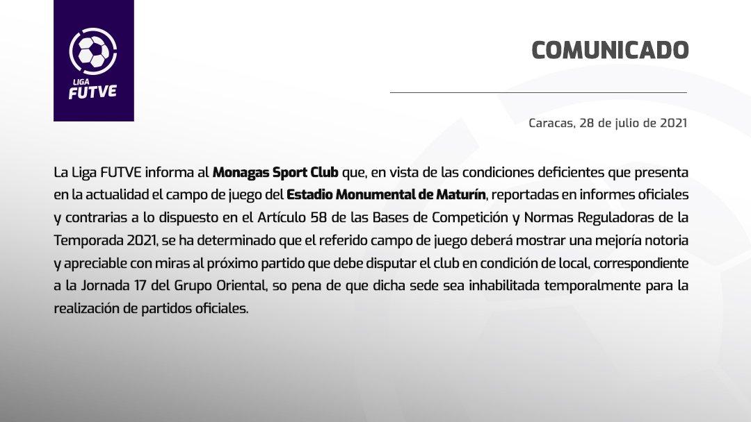estadio monumental de maturin pudiera ser suspendido por la liga futve laverdaddemonagas.com liga