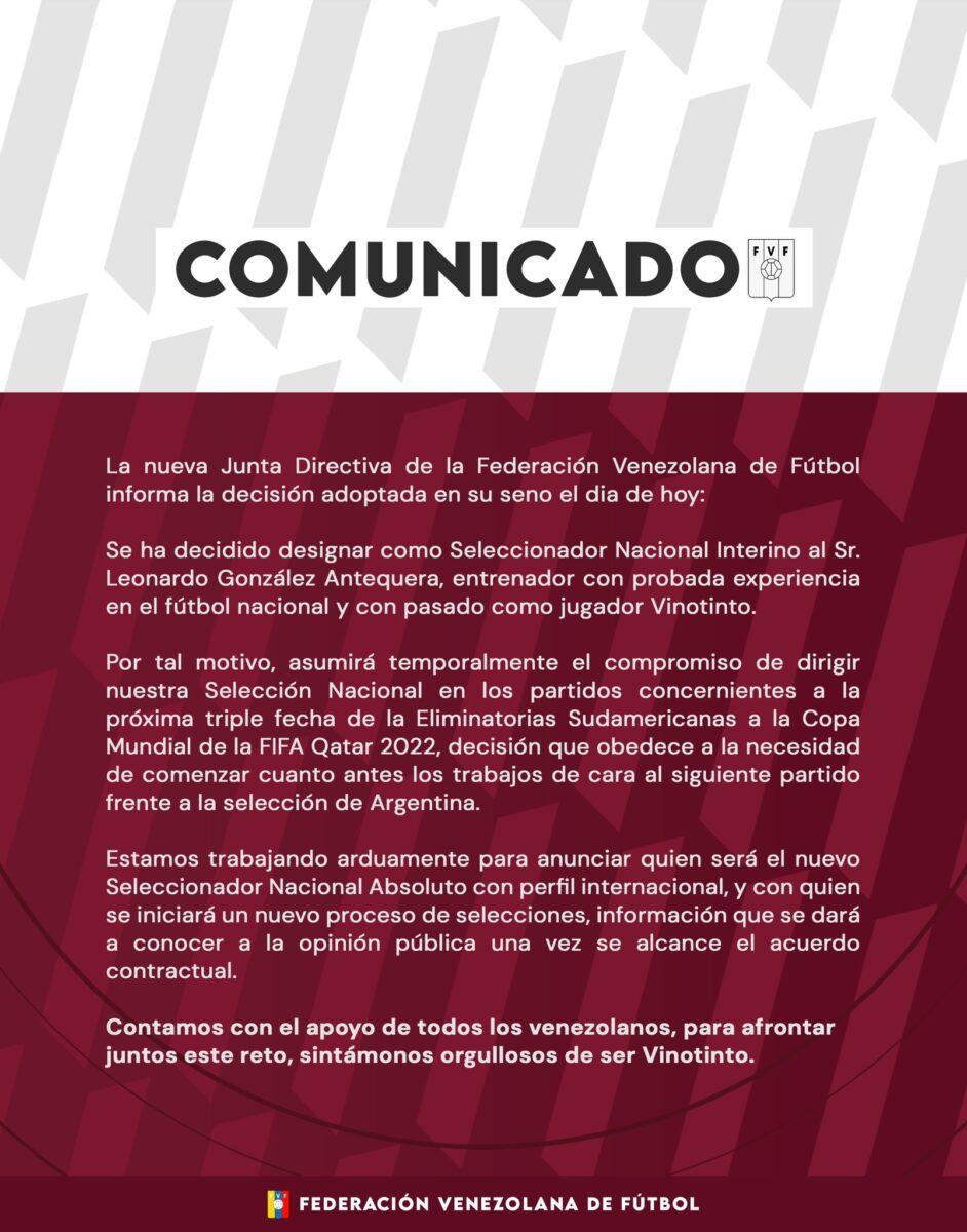 fvf anuncio un nuevo director tecnico para la vinotinto comunicado laverdaddemonagas.com e9g8z24xsaqyqiv