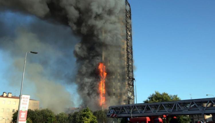 Edificio incendio milan