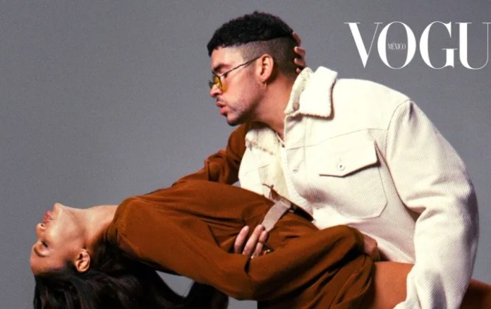 Bad Bunny and Joan Smalls pose together for the cover of Vogue Mexico