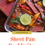 sheet pan with sliced beef and peppers and limes