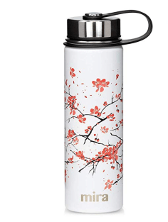 MIRA Insulated Reusable Water Bottle Stainless Steel Cherry Blossom Print