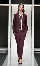 Hugo women's suiting wine red. The color is definitely what's most striking here. If it were more curvaceous and less andro/masculine, I would be crazy about this suit. But right now, I don't want to put that on my body...