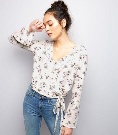 Floral Print V Neck Wrap Front - New Look