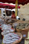 Dried saucisson at the markets in a baffling array of flavors. From duck and cheese to blueberry and pepper, there's something for every taste!!