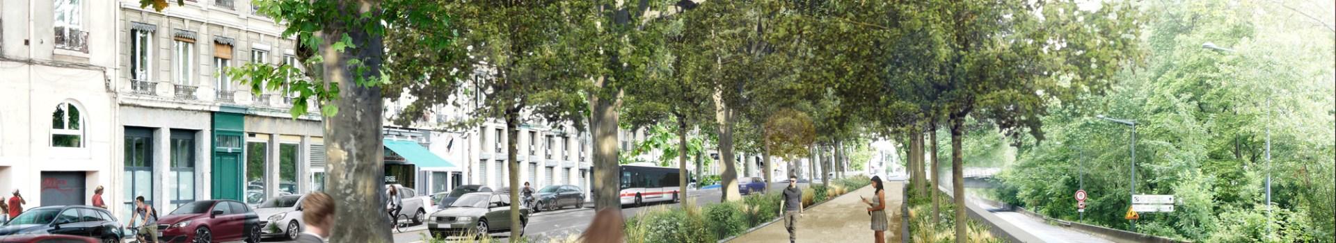 Le Cours d'Herbouville bientôt doté d'une voie verte: La Ville à Vélo apprécie!
