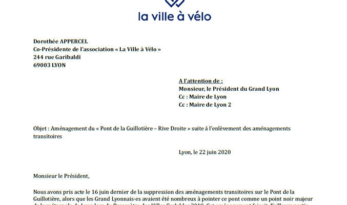 Lettre à Monsieur le Président de la Métropole : Aménagement du « Pont de la Guillotière – Rive Droite »