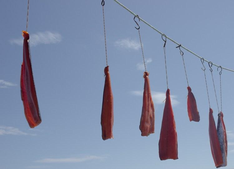 Красная рыба сушится на солнце, Сахалин