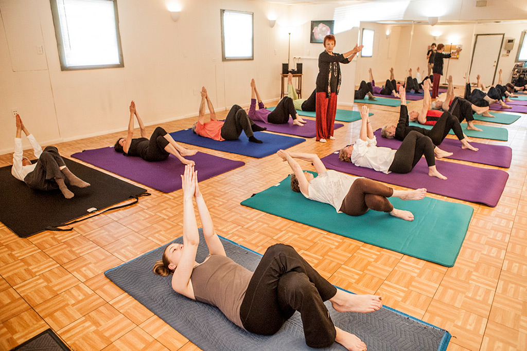 Lavinia conducts a Feldenkrais class at the Asheville Movement Center