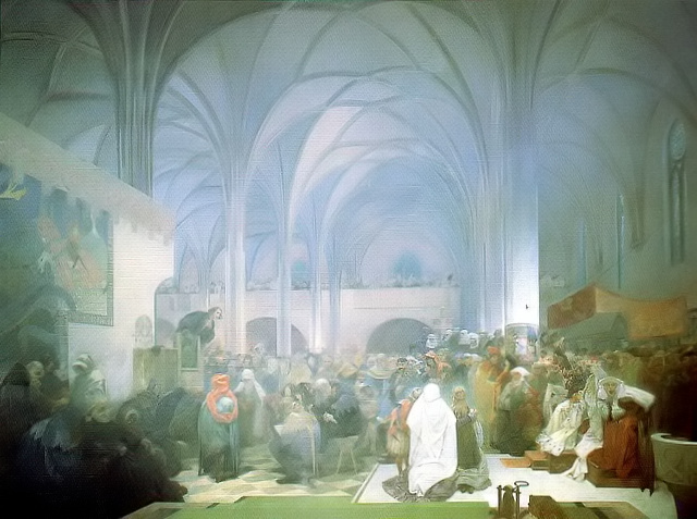 Master Jan Hus Preaching at the Bethlehem Chapel 'Truth Prevails' painting by Alphonse Mucha