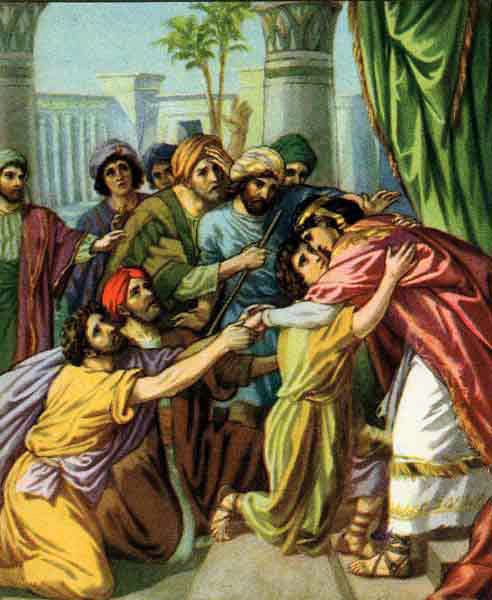 Joseph reveals himself to his brothers (a painting of unknown origin, in the public domain