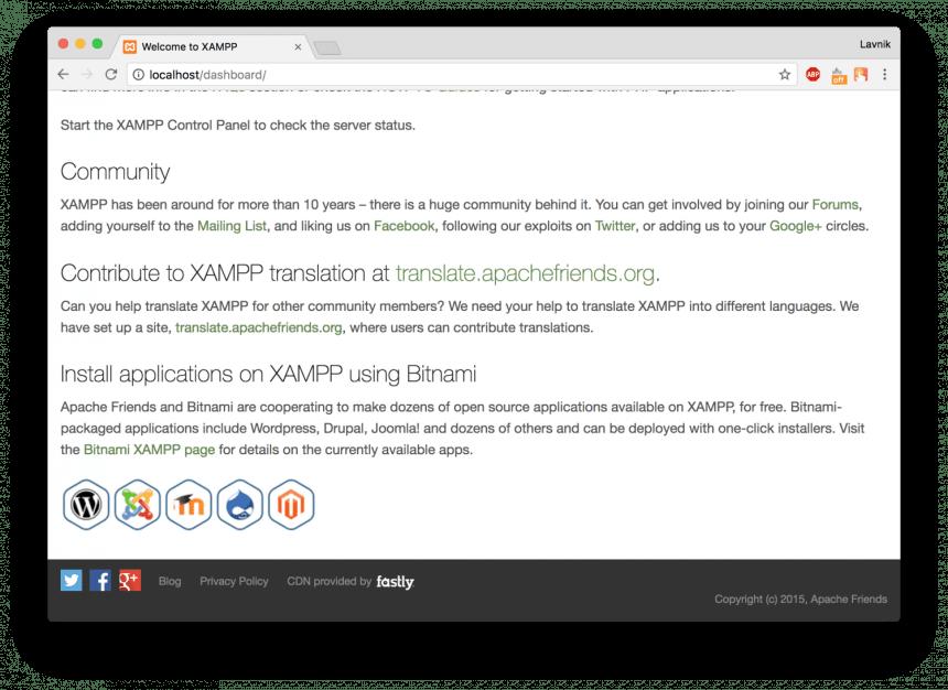 сайт WordPress на локальном компьютере с помощью Xampp