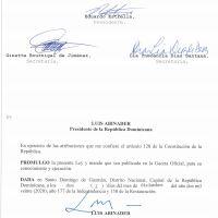 @LuisAbinader promulga Ley 237-20 de Presupuesto General del Estado 2021