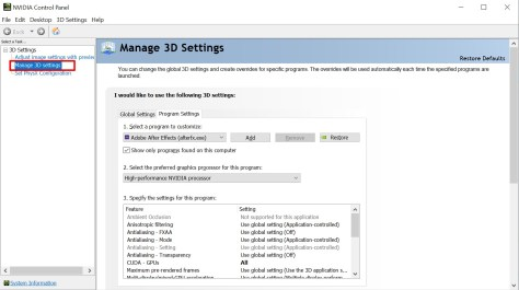 NVIDIA Control Panel - Manage 3D settings