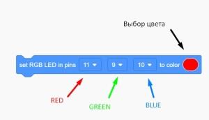 Tinkercad - как работать с RGB-светодиодом - выбор цвета в блоке