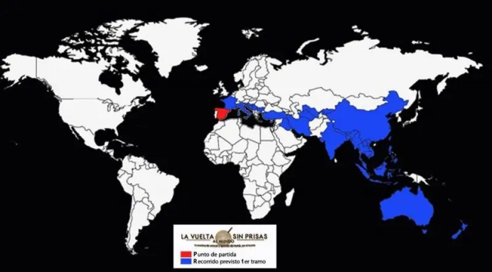 Mapa con el recorrido previsto