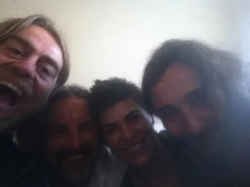 Yo, Gianluca, Mar y Simone a nuestra llegada a Mogliano Veneto