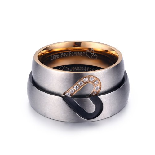 2Pcs Promise Rings For Couples Love You Forever Matching Heart 2