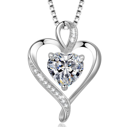 Heart CZ Necklace for Women High Polished 1
