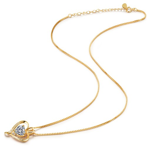 Gold Plated I Love You Heart CZ Necklace for Women High Polished 2
