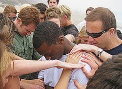 A Pepperdine student getting baptized.
