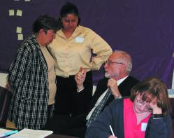 Edgar Cahn with volunteers