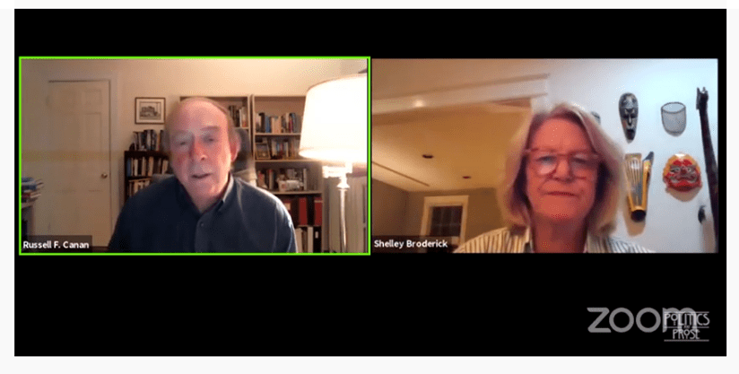 Screenshot of Russ Canan and Shelley Broderick on Zoom