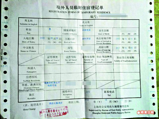 Registration Form of Temorary Residence