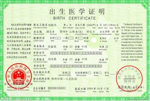 medical certificate of birth--China