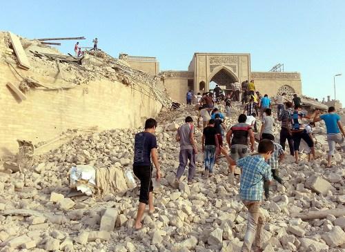 Demolished grave of prohet Jonah near Mosul