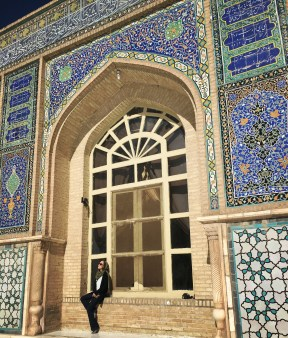 It was the Timurids who restored the mosque and introduced the bright mosaic to replace the original plain brick and stucco decoration.