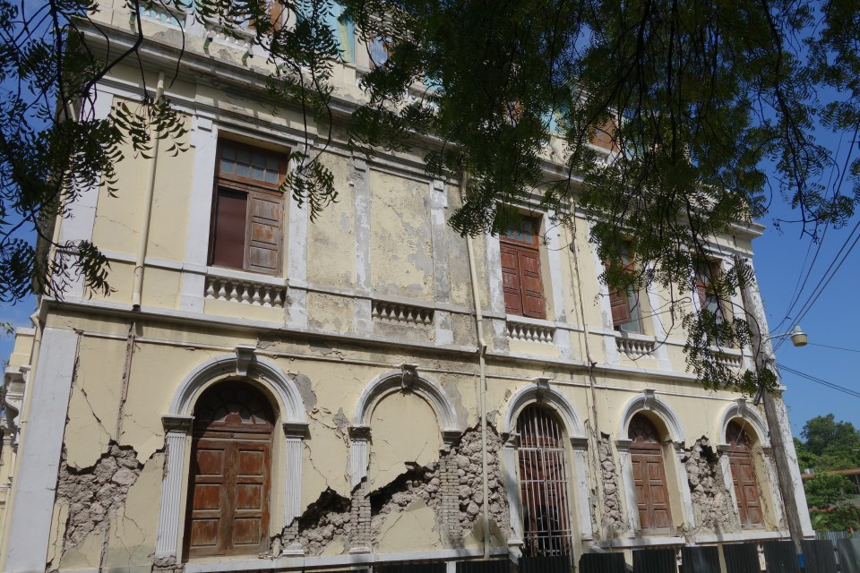 The Faculté d'Agronomie of the Université d'Etat d'Haiti, Damien campus in the Cul-de-Sac area near Port-au-Prince, damaged in the 2010 earthquake and awaiting restoration.  © Malick W. Ghachem, 2016.
