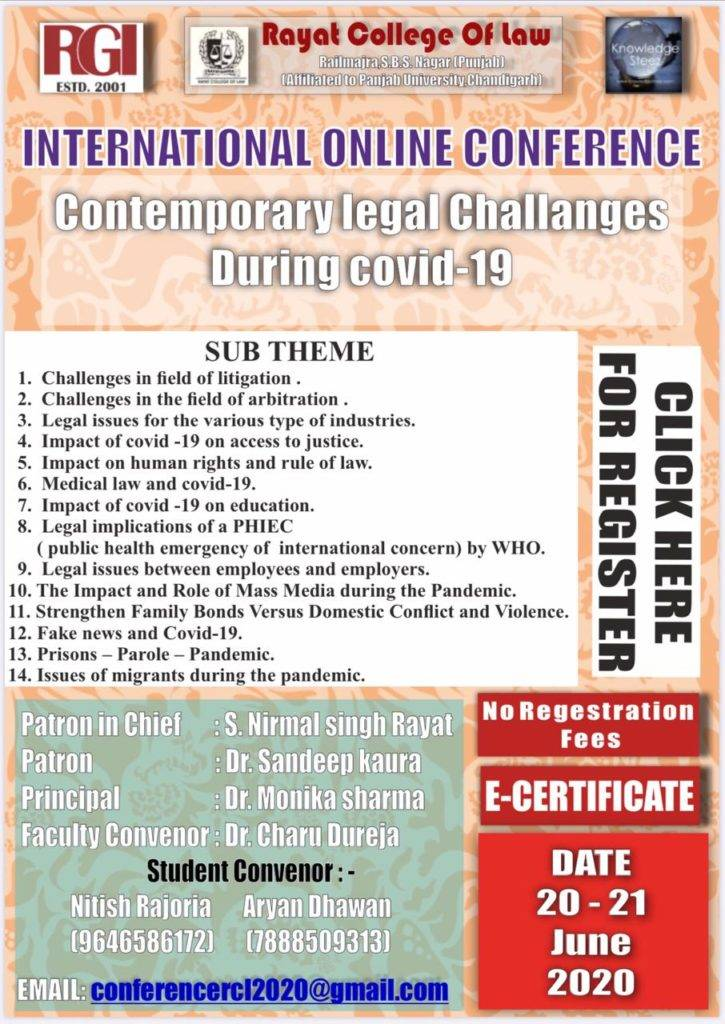 85ff9762 ad42 4be5 adcb ac64438b6483 INTERNATIONAL ONLINE CONFERENCE - CONTEMPORARY LEGAL CHALLENGES DURING COVID-19
